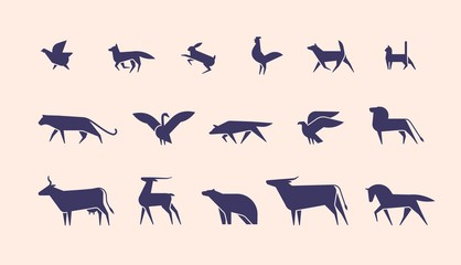 Collection of silhouettes or shapes of wild and domestic animals and birds isolated on light background, side view. Modern monochrome vector illustration for logotype in trendy geometric style.
