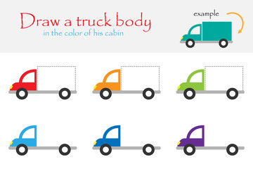 Draw a truck body in the color of his cabin for children, preschool worksheet activity for kids, task for the development of logical thinking, vector illustration