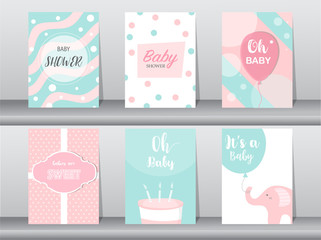 Set of baby shower invitations cards, poster, greeting, template,elephant, birthday, cake,cute,balloon,Vector illustrations.