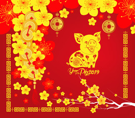 Happy Chinese new year 2019 card, Year of the pig