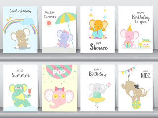Set of baby shower and happy birthday  invitations cards, poster, greeting, template, animals,elephant,cute,cartoons, Vector illustrations