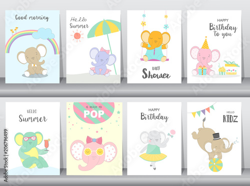 Set Of Baby Shower And Happy Birthday Invitations Cards