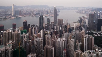 Fototapete - timelapse, sunset from Victoria peak,  Hong kong