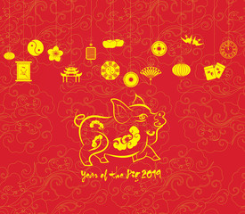 Oriental Happy Chinese New Year 2019. Year of pig Design. Year of the pig