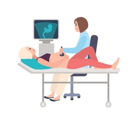 Smiling doctor or sonographer doing obstetric ultrasonography procedure on pregnant woman with medical ultrasound scanner. Baby growth monitoring. Colorful cartoon vector illustration in flat style.