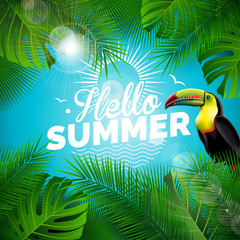 Vector Hello Summer Holiday typographic illustration with toucan bird and tropical plants on blue background. Design template with green palm leaf for banner, flyer, invitation, brochure, poster or