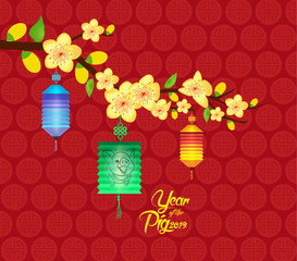 Oriental Chinese New Year background with lantern. Year of the pig