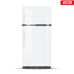 Modern Fridge Freezer refrigerator in white color. Household tech and appliances. Vector Illustration isolated on white background.