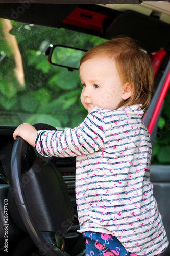Child Playing In Car Steering Wheel Cute Little Girl Driving Standing