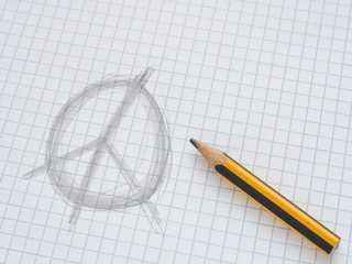 Peace sign on checkered paper