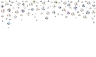 Diamonds and pearls raining from top on white background