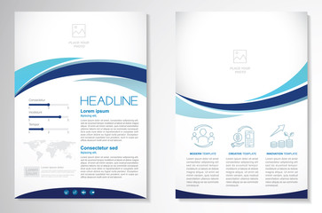 Template vector design for Brochure, AnnualReport, Magazine, Poster, Corporate Presentation, Portfolio, Flyer, infographic, layout modern with blue color size A4, Front and back, Easy to use and edit. Wall mural
