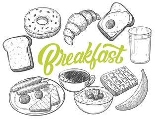 Hand drawn breakfast food with custom lettering, black and white draft sketch isolated on white background. Vintage vector etching ink illustration.