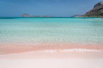 Pink sand on Balos beach and Gramvousa island near Kissamos in Crete, Greece