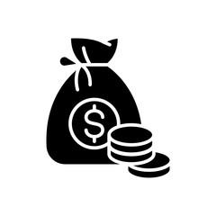 Earned money black icon concept. Earned money flat  vector symbol, sign, illustration.