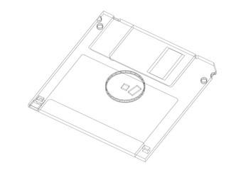 Floppy disk Architect blueprint - isolated