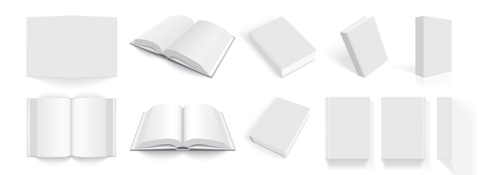 white books with thick cover from different sides isolated on white background mock up