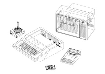 Retro Game Console Architect blueprint - isolated