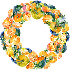 A festive, Christmas, New Year, delicious wreath of citrus-tangerine. Watercolor. Illustration