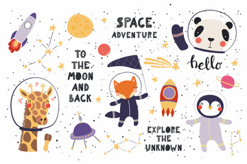Spoed Fotobehang Illustraties Big set of cute funny animal astronauts in space, with planets, stars, quotes. Isolated objects on white background. Vector illustration. Scandinavian style flat design. Concept for children print.