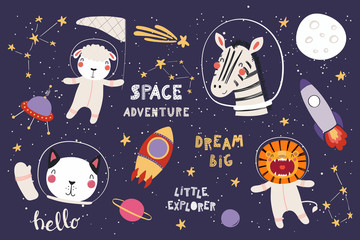 Foto auf Leinwand Abbildungen Big set of cute funny animal astronauts in space, with planets, stars, quotes. Isolated objects on white background. Vector illustration. Scandinavian style flat design. Concept for children print.