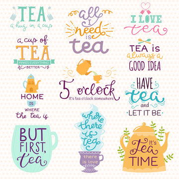 Tea time lettering logo quote vector lettering handdrawn cup of tea vintage print teatime typography poster design teapot isolated badge illustration