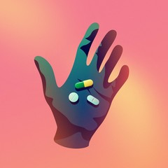 Illustration of hand with pills