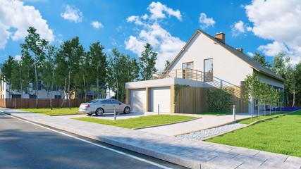 Haus als Hausbau und Eigenheim Konzept
