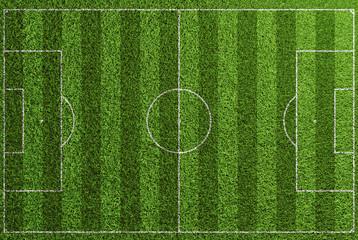 Rasen Fußball Spielfeld von oben mit Linien