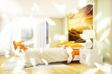 Daunenfedern im Schlafzimmer als Allergie Konzept