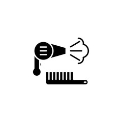 Hair dryer black icon concept. Hair dryer flat  vector symbol, sign, illustration.