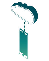 smart phone connected cloud storage data isometric image vector illustration