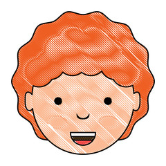 cartoon happy girl face over white background, colorful design. vector illustration