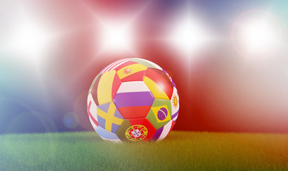 soccer event soccer ball with flags 3d rendering
