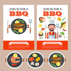 Barbecue party. Grilled fish and vegetables. Vector illustration. Invitation.