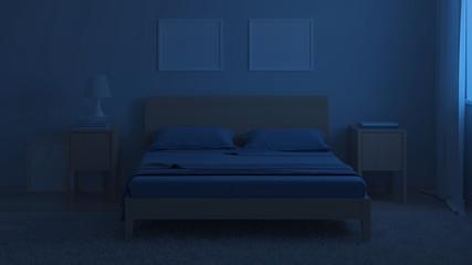 Bedroom interior in cold tones. Night lighting. 3D rendering.
