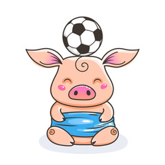 Cute cartoon pig with a soccer ball. Vector illustration.