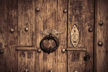 Wooden door with old metal lock. Image in old color style