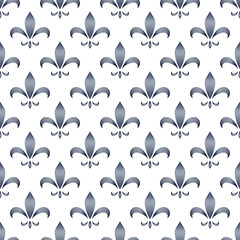 Black blue and white abstract royal lily ornament seamless pattern, vector