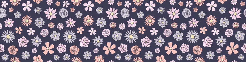 Cute hand drawn flowers texture - panoramic header. Vector.