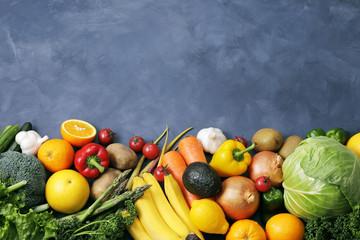 野菜と果物の集合 Image of different fruits and vegetables on dark background Wall mural