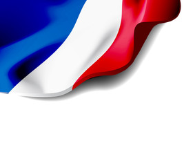 Waving flag of France close-up with shadow on white background. illustration with copy space
