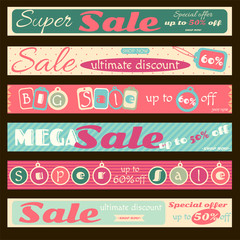 Set of horizontal super sale discount banners