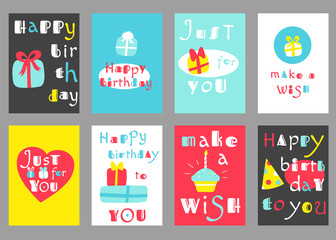 Set of birthday banners in naive hand drawn style