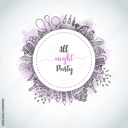 Birthday Party Doodle Background Card All Night Party Text Vector