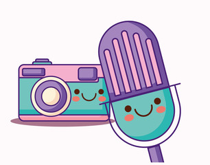 kawaii microphone and camera over white background, colorful design. vector illustration
