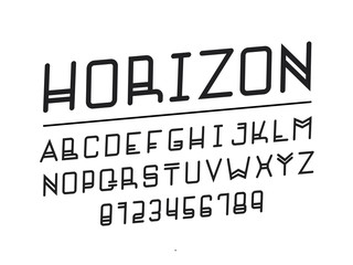 Horizon font. Vector alphabet