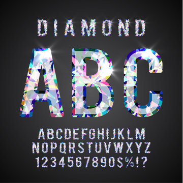 Colorful Diamond ABC. Gemstone styled  alphabet letters collection, vector eps10