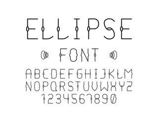 Ellipse font. Vector alphabet