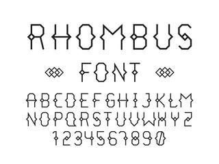 Rhombus font. Vector alphabet